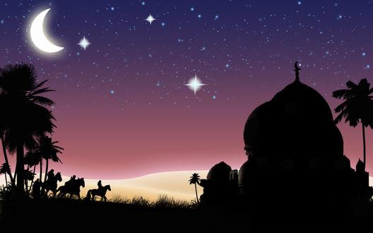 Обои Под ярким звездным небом три всадника, желающие проникнуть во дворец султана