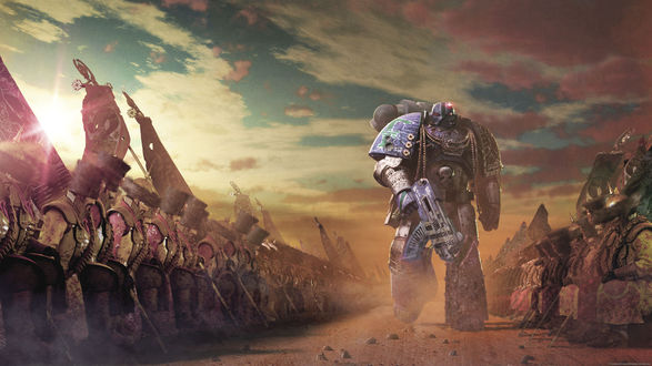 Обои Легион войск под командованием робота в игре Horus Heresy