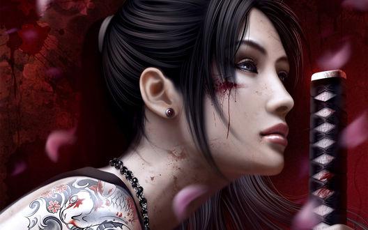 Обои Девушка-самурай с татуировкой-рыбой на плече и катаной измазанная в крови и лепестки сакуры