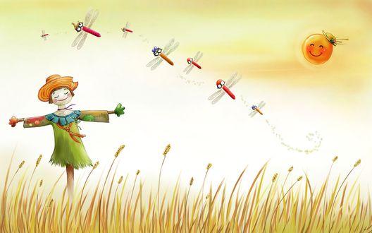 Обои Пугало стоит в поле, светит солнце, летают стрекозы