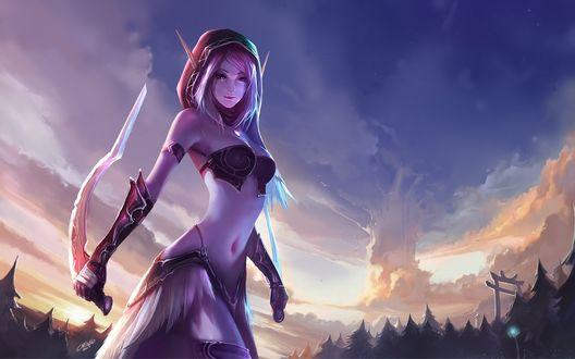 Обои Эльфийка из игры World Of Warcraft / Варкрафт