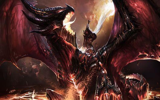 Обои Воин убивает дракона Смертокрыла / Deathwing the Destroyer из игры World of Warcraft / Варкрафт / Мир Военного Ремесла