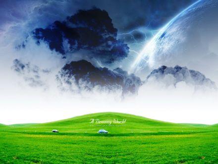 Обои Поляна с яркой зеленой травой (A dream world, A man`s dreams are an index to his greatness / Мир мечты, мужские мечты индекс его величия)