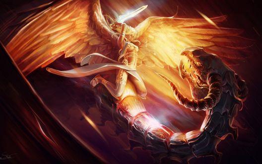 Обои Ангел с мечом сидя на драконе пытается его убить