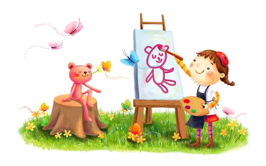 Обои Девочка рисует портрет мишки, который сидит на пеньке с цветком во рту, вокруг летают бабочки