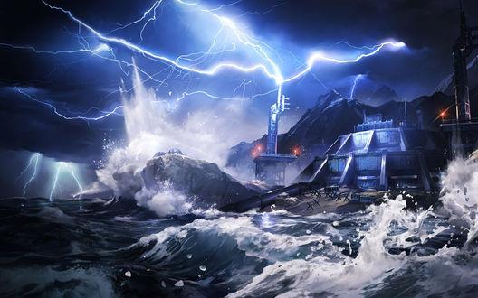Обои Шторм и молнии обрушились на военную станцию, расположившуюся между морем и горами