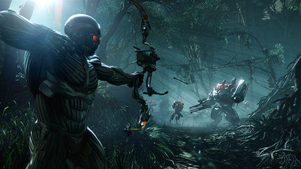 Обои Война человека в экипировке с роботами в джунглях, игра Crysis 3 / Кризис 3