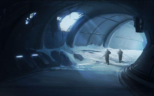 Обои Люди с оружием исследуют заброшенный тоннель