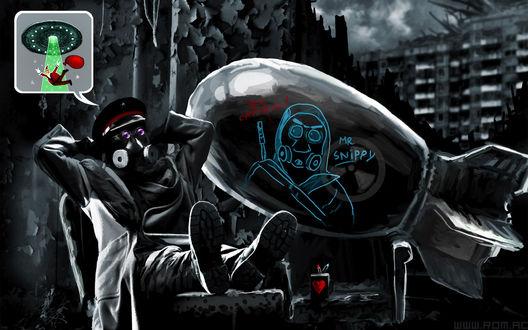 Обои Романтика апокалипсиса / romantically apocalyptic, человек в противогазе охраняет собственноручно разрисованную боеголовку и представляет как Санта-клауса крадут инопланетяне (Mr Snippy, Yes, Captain!)