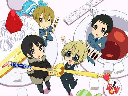 Обои Изая-кун, Шизуо-тян, Кида и Микадо из аниме Durarara!! в стиле K-ON!