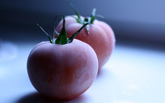 Обои Два замороженных томата