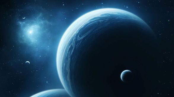 Обои Большие планеты в безграничной синей вселенной