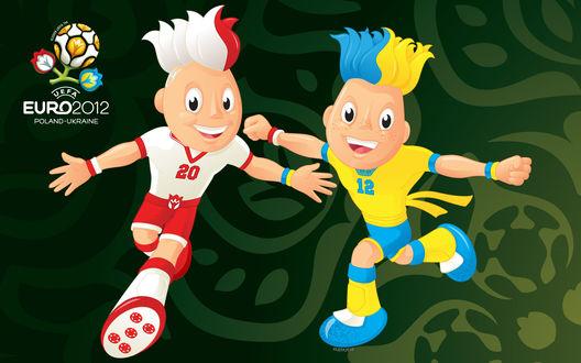 Обои Кубок Уефа Евро 2012 / UEFA Euro 2012, два футболиста, украинский и польский (Poland-Ukraine)