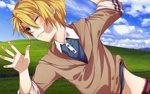 Обои Kurusu Shou / Курусу Сё из аниме Поющий Принц / Uta no Prince-sama на фоне стандартных обоев Windows XP прилип к экрану