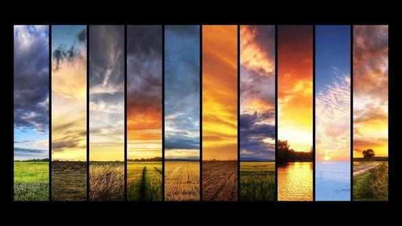 Обои Коллаж из фотографий рассветов над полем