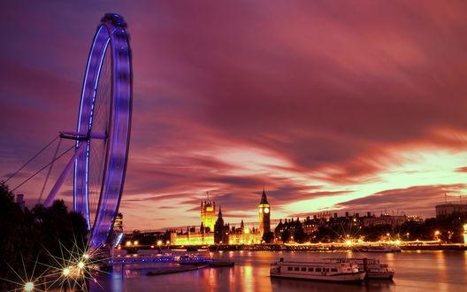 Обои Великобритания, Англия, Лондон / Great Britain, England, London, колесо Обозрения /  London Eye, вечер, река Темза / Thames river