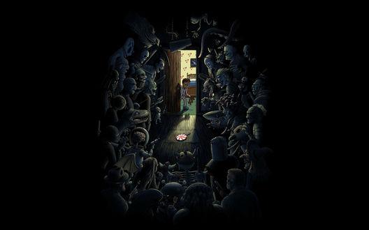 Обои Мальчик приоткрыл дверь в шкаф, в котором притаились все его детские страхи