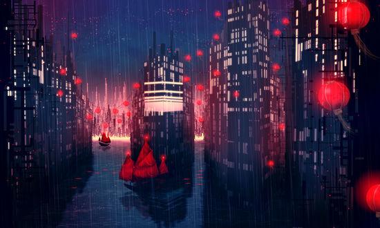 Обои В затопленном ночном городе, увешанном красными фонарями, идёт дождь и плавают корабли с красными парусами