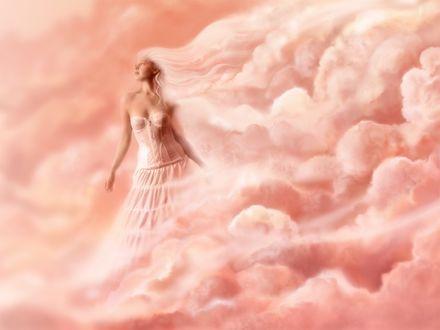 Обои Розовая мечта: девушка в облаках