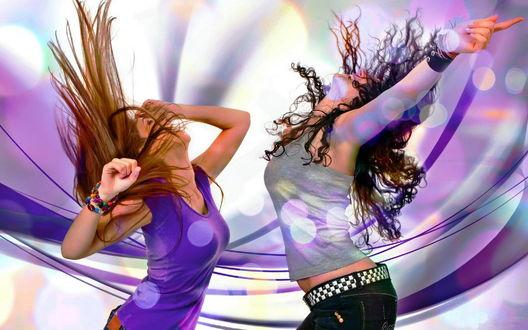 Обои Две девушки танцуют