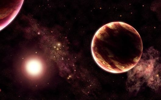 Обои Две планеты и солнце
