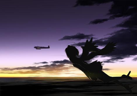 Обои Летящая девушка и пролетающий рядом самолет