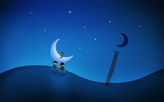 Обои Рисованные забавные человечки, взобравшись по лестнице на небо, украли  луну