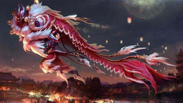 Обои Девушка летит в костюме дракона во время великого праздника