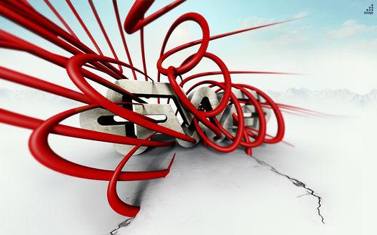 Обои Красные полосы 3D спирали (syzdy)