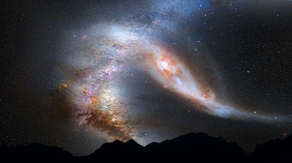Обои Столкновение слияние галактик Млечный Путь / M31 и Андромеда