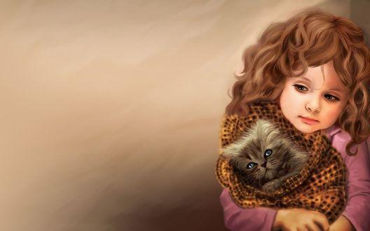 Обои Грустная девочка держит на руках завернутого в одеяло котёнка