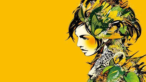 Обои DJ Okawari, альбом Kaleidoscope, Девушка состоящая из листьев, цветов и головы леопарда на желтом фоне