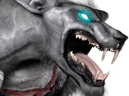 Обои Волк - оборотень с пустыми глазницами, светящимися бирюзовым цветом