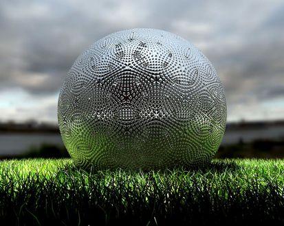 Обои 3D шар из металла на траве