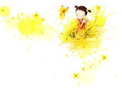 Обои Рисованная девочка держит в руках цыплёнка, среди жёлтых цветов, бабочек и бликов. Художник-иллюстратор Kim Jong Bok