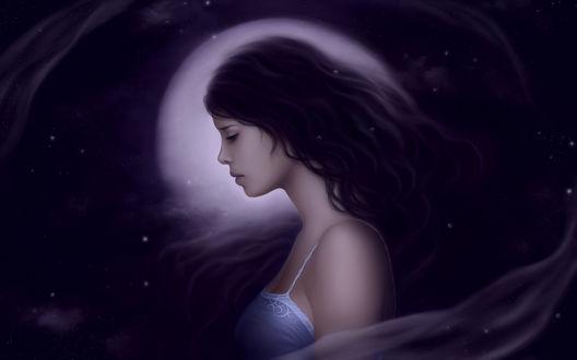 Обои Грустная девушка на фоне полной луны