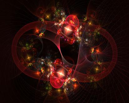 Обои Яркий абстрактный узор в красных и золотистых бликах