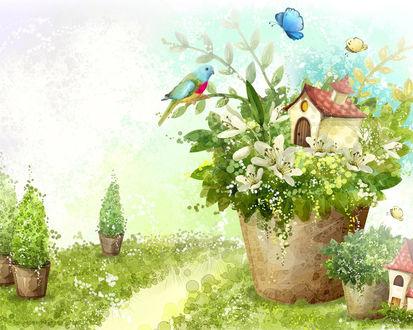 Обои Сказочный домик на цветочном горшке