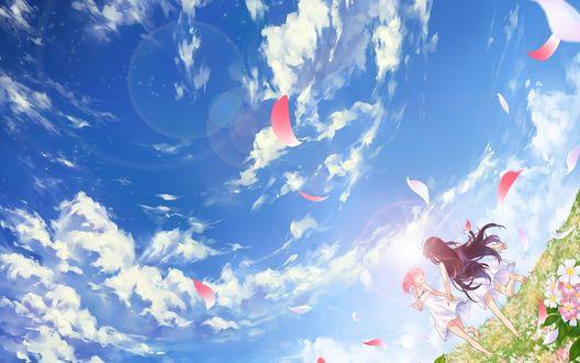 Обои Kaname Madoka / Канамэ Мадока и Акеми Хомура / Akemi Homura из аниме Девочка-волшебница Мадока Магика / Mahou Shoujo Madoka Magica бегут по зелёной траве под открытым небом и сыпятся лепестки