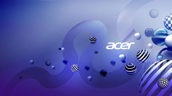 Обои Фирменные обои ноутука Acer Aspire / Эйсер Эспая в виде абстракции и полосатых сфер