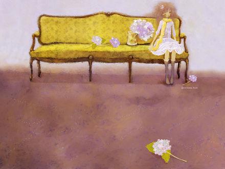 Обои Девочка-принцесса с короной на пышных волосах сидит на диване рядом с цветами. Художник-иллюстратор Christian Asuh