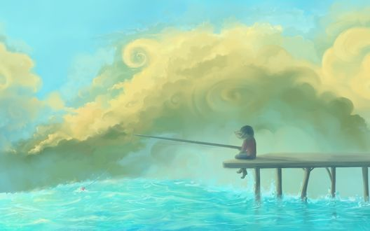 Обои Девочка, сидя на причале, ловит рыбу