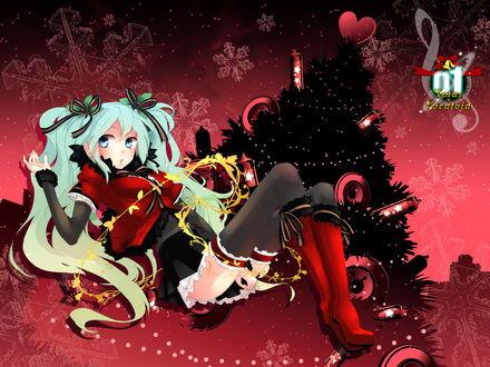 Обои Vocaloid Hatsune Miku / Вокалоид Хатсунэ Мику (01 Xmas Vocaloid x Vocaloid)