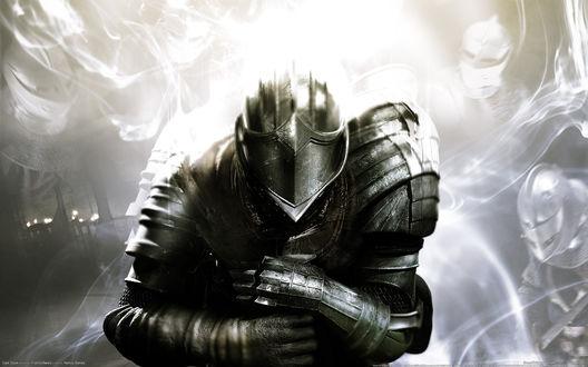 Обои Рыцарь в доспехах преклонил колено из игры Dark Souls / Темные души