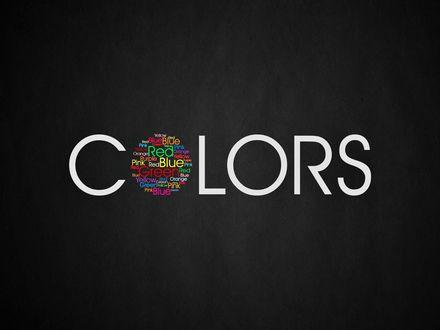 Обои Белая надпись с одной разноцветной буквой на черном фоне (Colors / Цвета)