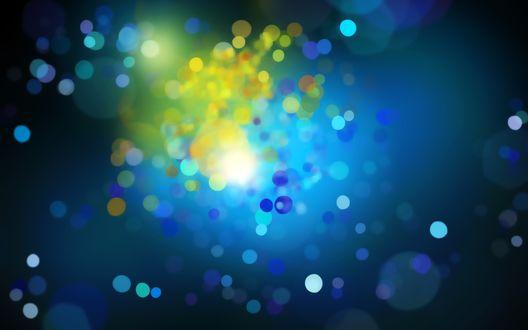 Обои Желто-голубые блики на синем фоне