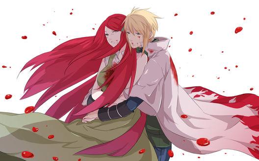 Обои Наруто Удзумаки / Naruto Uzumaki обнимает девушку, вокруг них капли крови (манга Наруто: Ураганные хроники / Naruto: Shippuuden)
