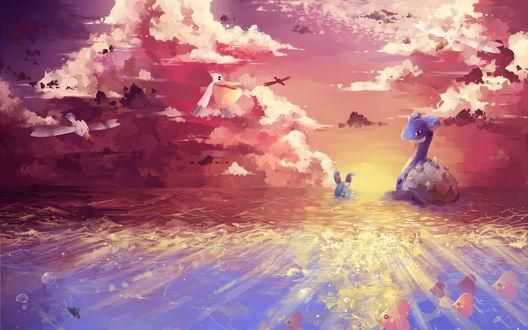 Обои Водные и воздушные покемоны из аниме Покемон / Pokemon