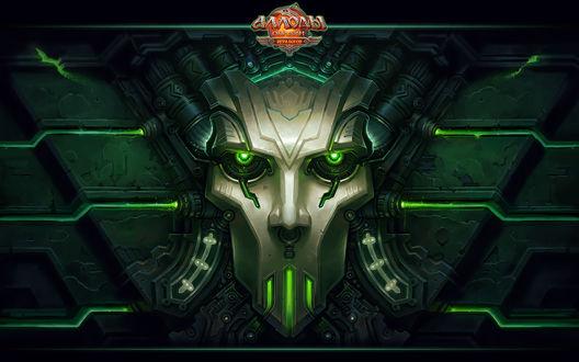 Обои Кибернетическое лицо на обоях к компьютерной игре Аллоды (Аллоды онлайн, игра богов, скрижаль Тэпа )