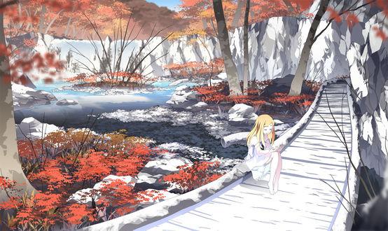 Обои Светловолосая анимешная девочка в белом платьице сидит на мостике через горное озеро осенью, арт мангаки Asakura Masatoki